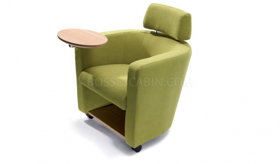 fully upholstered training chair with writing tablet