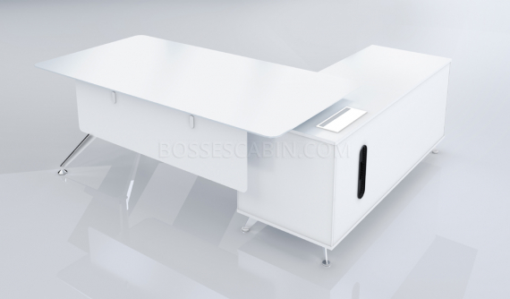'Sharp' 6.5 Feet White Office Table With Side Cabinet