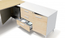 office desk with side cabinet in maple and white combination