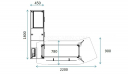 shop drawing of Spark 7 feet office desk with curved desktop