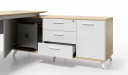 maple office desk with side cabinet in white color