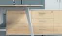 sleek maple wood office desk with tapered edge desktop