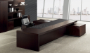 luxurious office cabin with large table in wood and leather finish
