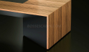 close up of rectangle office desk in zebra veneer finish