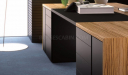 office desk with leather writing top and inbuilt storage drawers