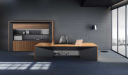 office cabin with large desk, rear cabinet and arco floorlamp