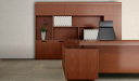 modern office desk with rear storage cabinet