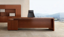 modern, straight lines office desk with black leather chair and rear storage cabinet
