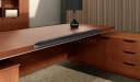 solid wood finish office desk with leather and chrome edges