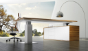 contemporary office with modern office table and Arco floor lamp