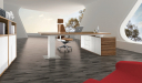 futuristic office cabin with zebra veneer desk and side cabinet
