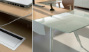 maple wood office desk with frosted glass extension
