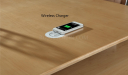 maple wood office table top with embedded wireless mobile charger