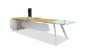 modern office table in maple wood and frosted glass