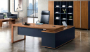 office cabin with walnut veneer office table and rear storage cabinet