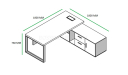 shop drawing of Josep 6 feet office table with side cabinet