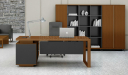 office cabin with walnut finish office desk and rear cabinet