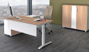 contemporary office desk with high back leather chair and rear storage cabinet