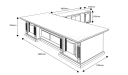 shop drawing of 9 feet office table in classic design