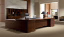 elegant office cabin with large walnut wood office table with rear storage unit