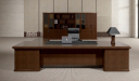 large solid wood finish office table with bookcase