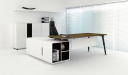 stylish office table in walnut and white laminate combination