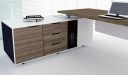 close up view of office desk side cabinet with three drawers
