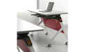 training table in white laminate with red modesty panel