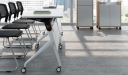 training table in white laminate