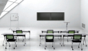 modern classroom with tables and chairs