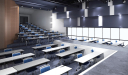 auditorium with training tables and chairs
