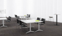 meeting room with modular tables and chairs