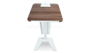 sleek lectern with walnut laminate and steel base