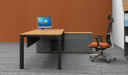 office desk with side cabinet in yellow oak and gray combination