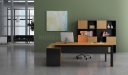 office with office desk and book shelf in yellow oak
