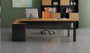 office desk with side cabinet in yellow oak veneer with orange chair