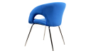 side view of arm chair in blue fabric with chrome legs