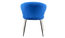 rear view of blue fabric arm chair with steel legs