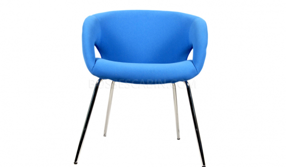 blue color arm chair in fabric with chrome legs