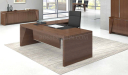 large office cabin with walnut finish office table and black leather chair
