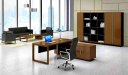 large office cabin with office desk, sofa and office chair