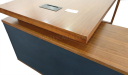 walnut veneer finish office tabletop with wirebox