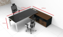 dimensions of 7 feet black glass top office desk