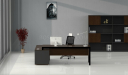front view of black glass office desk with side cabinet and chair