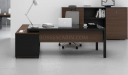 office cabin with contemporary black glass office desk