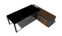office desk with black glass top and walnut finish side cabinet