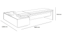 shop drawing of 10 feet L shape office table
