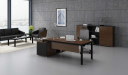 office cabin with walnut finish office table, back unit and sofa