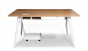 small office desk with white modesty panel and light wood top