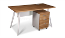 small office desk with mobile pedestal in light walnut finish